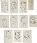 Movie/TV Memorabilia:Memorabilia, Paul Newman, Paul Muni and Other Signed Sketches. ... (Total: 11Items)