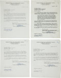 Movie/TV Memorabilia:Autographs and Signed Items, A Boris Karloff Group of Signed Contracts, 1960s....