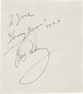 Music Memorabilia:Autographs and Signed Items, Elvis Presley Autograph and Inscription....