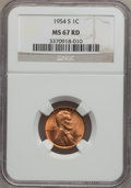 Lincoln Cents: , 1954-S 1C MS67 Red NGC. NGC Census: (1260/0). PCGS Population (189/0). Mintage: 96,190,000. Numismedia Wsl. Price for probl...