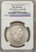 Coins of Hawaii, 1883 $1 Hawaii Dollar -- Improperly Cleaned -- NGC Details. Unc....
