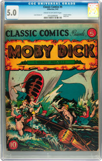 Classic Comics #5 Moby Dick - first edition (Gilberton, 1942) CGC VG/FN 5.0 Cream to off-white pages