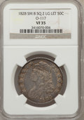 Bust Half Dollars, 1828 50C Square Base 2, Small 8, Large Letters VF35 NGC. O-117. NGCCensus: (7/197). PCGS Population (23/434). (#6151)...