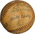 Autographs:Baseballs, 1936 New York Yankees & Detroit Tigers Signed Baseball with Gehrig, Cobb....