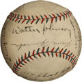 Autographs:Baseballs, 1931 Washington Senators Team Signed Baseball with WalterJohnson....