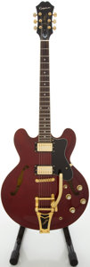 Musical Instruments:Electric Guitars, Circa 2005 Epiphone Riviera Wine Red Semi-Hollow Body ElectricGuitar, #R05070484....