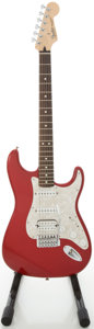 Musical Instruments:Electric Guitars, 2007 Fender Stratocaster MIM Candy Apple Red Solid Body ElectricGuitar, #MZ7265051....