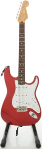 Musical Instruments:Electric Guitars, 1998 Fender Stratocaster MIM Candy Apple Red Solid Body ElectricGuitar, #MN8119464....