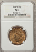 Indian Eagles: , 1909-S $10 AU55 NGC. NGC Census: (102/468). PCGS Population(90/453). Mintage: 292,350. Numismedia Wsl. Price for problem f...