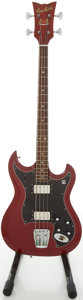 Musical Instruments:Bass Guitars, Circa 1970's Hagstrom Cherry Electric Bass Guitar, #53 936070....
