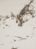 Prints, KERR EBY (American, 1889-1946). Winter Hillside. Drypoint etching . Image: 12 x 9 inches (30.5 x 22.9 cm). Sight: 13 x 9...