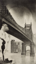 Prints, LOUIS LOZOWICK (American, 1892-1973). Queensboro Bridge,1930. Lithograph. Image: 13-1/4 x 7-1/2 inches (33.7 x 19.1 cm)...
