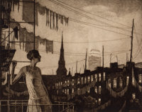 MARTIN LEWIS (American, 1881-1962) Glow of the City, 1929 Drypoint etching Image: 11-1/4 x 14-1/4