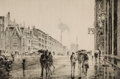 Fine Art - Work on Paper:Print, MARTIN LEWIS (American, 1881-1962). Rain on Murray Hill,1928. Drypoint on laid paper . Image: 7-3/4 x 11-3/4 inches (19...