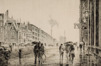 MARTIN LEWIS (American, 1881-1962) Rain on Murray Hill, 1928 Drypoint on laid paper Image: 7-3/4