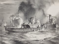 Fine Art - Work on Paper:Print, JOHN A. NOBLE (American, 1913-1983). Tug Procession (four generations of tugs off Staten Island), 1949. Lithograph. Imag...
