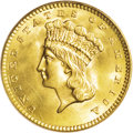 Gold Dollars: , 1858 G$1 MS67 PCGS. The 1858 gold dollar, with a mintage of nearly118,000 pieces, is not rare in an absolute sense. Indeed...