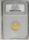 1856-S $2 1/2 --Bent, Improperly Cleaned--NCS. UNC Details. From an original mintage of 72,100 pieces comes this survivo...