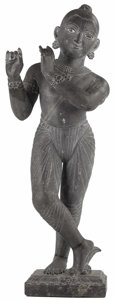 Asian:Other, An Indian Granite Figure of Krishna. Unknown maker, Indian.18th/19th century. Granite. Unmarked. 44 inches high. The da...