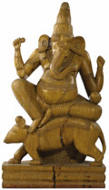 Paintings, A Carved Wooden Ganesha. Unknown maker, Indian. 20th century. Carved wood. Unmarked. 54 inches high. The sculpture of Ga...