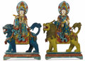 Asian:Chinese, A Pair of Chinese Polychrome Goddesses. Unknown maker, Chinese.Circa 1900. Painted wood. Unmarked. 88 inches high x 55 in...