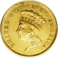 Three Dollar Gold Pieces: , 1855-S $3 AU55 PCGS. Of the 6,000 San Francisco three dollar coinsminted in 1855, relatively few are known today, especial...