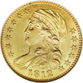Early Half Eagles: , 1812 $5 MS61 NGC. Wide 5D, Breen-6466, BD-1, R.3. An attractiveyellow-gold example with ample luster and a good strike. On...