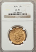 Indian Eagles: , 1914-S $10 XF45 NGC. NGC Census: (14/860). PCGS Population(21/719). Mintage: 208,000. Numismedia Wsl. Price for problem fr...