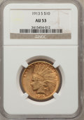 Indian Eagles: , 1913-S $10 AU53 NGC. NGC Census: (77/570). PCGS Population(56/374). Mintage: 66,000. Numismedia Wsl. Price for problem fre...