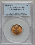 1909-S 1C S Over Horizontal S MS63 Red PCGS. PCGS Population (29/373). NGC Census: (9/133). (#92434) From The George's...