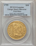 Early Eagles, 1799 $10 Large Stars Obverse -- Filed Rims-- PCGS Genuine. ThisPCGS number ending in 98 suggests Filed Rims as the reason,...