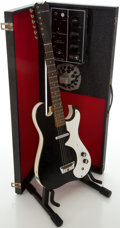 Musical Instruments:Electric Guitars, 1960's Silvertone 1448 Amp-in-Case Black Solid Body Electric Guitar....