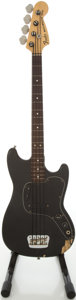 Musical Instruments:Bass Guitars, 1977 Fender Musicmaster Black Electric Bass Guitar #S719285....