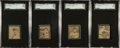 Baseball Cards:Lots, 1912 W-Unc. Baseball Strip Cards SGC Graded Quartet (4) - With TwoUncatalogued Subjects. ...