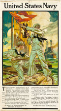 """Movie Posters:War, United States Navy Recruiting Poster (Street & Finney, 1910).J.C. Leyendecker Poster (20.75"""" X 37.5"""").. ..."""