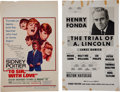 Movie/TV Memorabilia:Posters, A Sidney Poitier and Henry Fonda Set of Signed Window Cards, 1960s.... (Total: 2 Items)