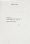 Movie/TV Memorabilia:Autographs and Signed Items, An Irving Berlin Signed Letter, 1981....