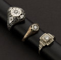 Estate Jewelry:Rings, Three Vintage Gold & Diamond Rings. ... (Total: 3 Items)