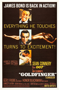 "Goldfinger (United Artists, 1964). Flat Folded One Sheet (27"" X 41"")"