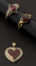 Estate Jewelry:Lots, Two Gold Rings & One Gold Ruby Pendant. ... (Total: 3 Items)