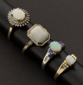 Estate Jewelry:Rings, Four Opal Gold Rings. ... (Total: 4 Items)