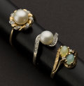Estate Jewelry:Rings, Three Pearl & One Moon Stone Gold Rings. ... (Total: 3 Items)