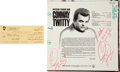 Music Memorabilia:Autographs and Signed Items, A Conway Twitty Twice-Signed LP and Signed Check....