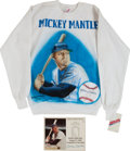 Baseball Collectibles:Others, Mickey Mantle Signed Sweatshirt and Print Lot of 2....
