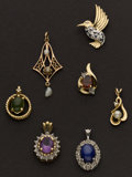 Estate Jewelry:Pendants and Lockets, A Lot Of Seven Gold Pendants. ... (Total: 6 Items)