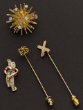 Estate Jewelry:Lots, Two Gold Stick Pins One Pin & One Pendant. ... (Total: 4 Items)