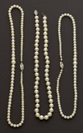 Estate Jewelry:Pearls, Three Strands Of Pearls. ... (Total: 3 Items)