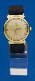Timepieces:Wristwatch, Omega Gold Top Steel Back Seamaster. ...