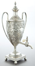 Silver Holloware, British:Holloware, A GEORGE III SILVER HOT WATER URN . Maker unidentified, London,England, 1809-1810. Marks: (lion passant), (leopard's head c...