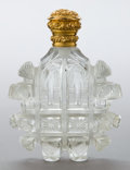 Silver Smalls:Other , A DUTCH CUT GLASS AND 18K GOLD PERFUME FLASK. Maker unknown,Netherlands, circa 1850. Marks: (left facing lion head),K...